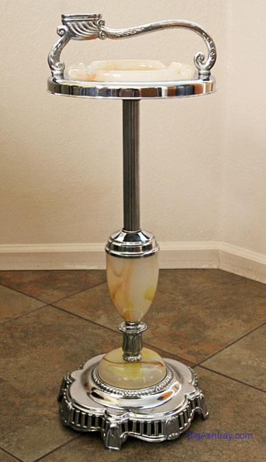 Standing Floor Ashtray Slag Glass And Chrome Big Ashtray